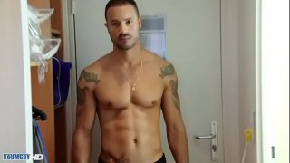 Gym coach gets sucked in spite of him by us in a shower !